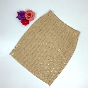 St. John Evening Knit Gold Sequined Skirt -H9